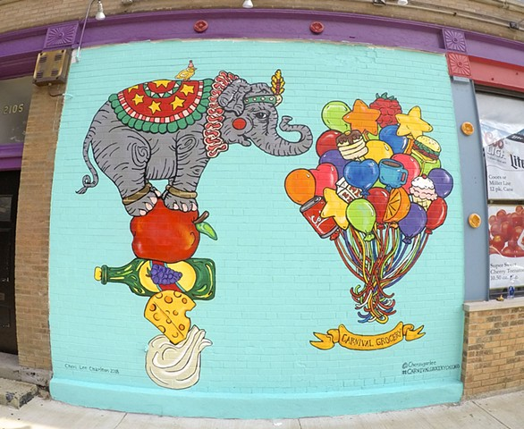 Carnival Grocery Mural  Elephant and Balloons