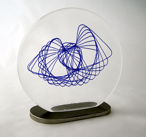 Blue spiral Incased in Clear Glass