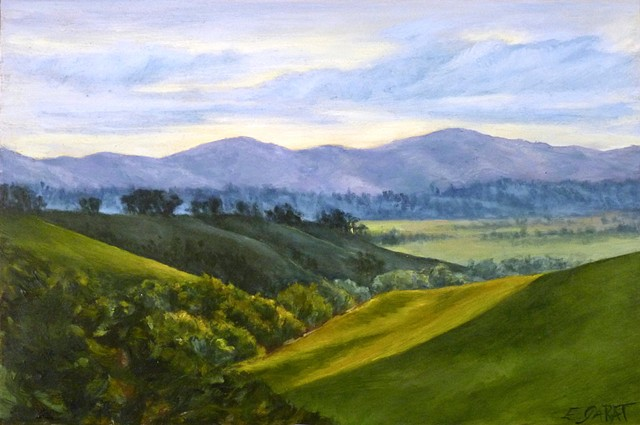 oil painting, landscape, Val D'Oracia, Buonconvento,  Siena, Tuscany