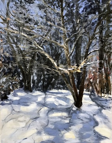Winter oil painting, bare trees, snow,