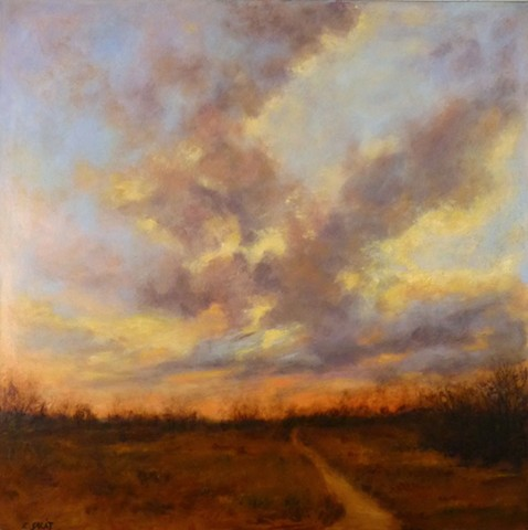 Dusk, landscape, sunset, Delta, oil