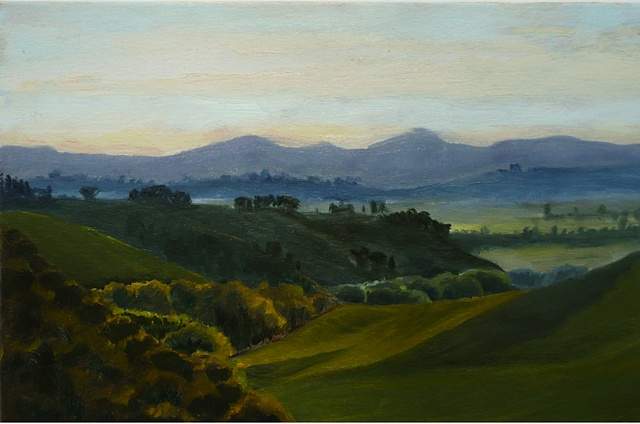 Evening Falling;  View of the Valley from Fattoria Armena, Tuscany, Italy