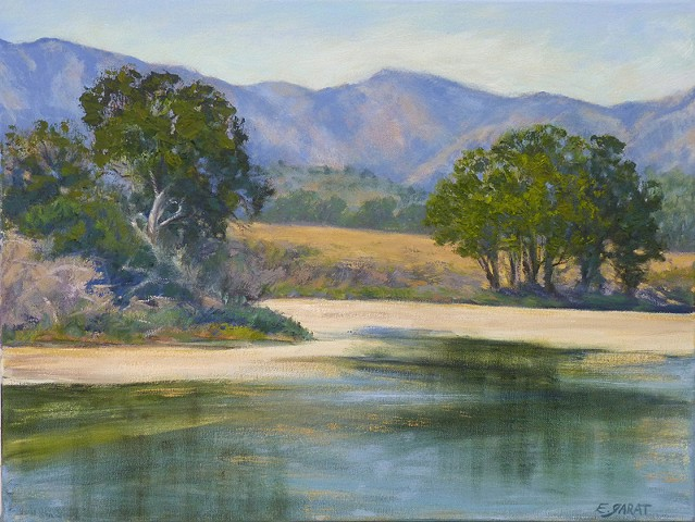Landscape painting in oil of Central California Coastal wetlands
