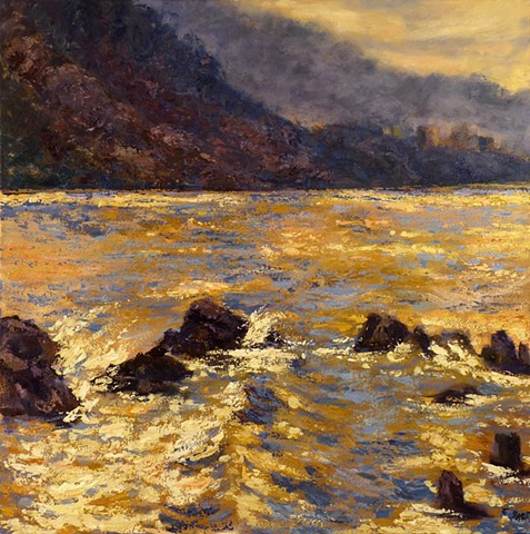 Seascape, Malibu, Sunrise, California landscape, oil painting, impressionism