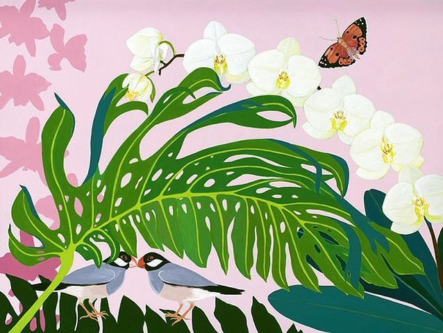 Monstera leaf, monstera, Hawaii, Hawaiian flora, Hawaiian birds, Hawaiian plants, Orchids, white orchids, Kamehaha butterfly, butterfly, butterflies, pink, white, green, botanicals, original paintings, green and pink,