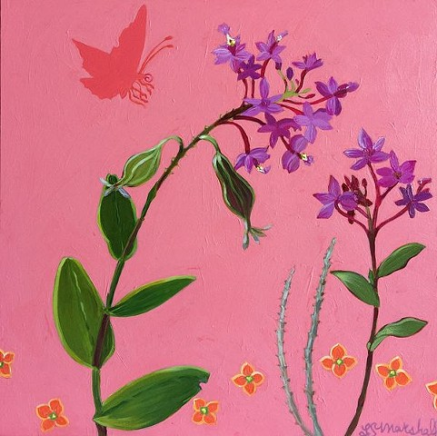 orchids, purple orchids, butterfly, farfalla, orchidea, coral, purple, small paintings, art, small image art, small image, botanicals
