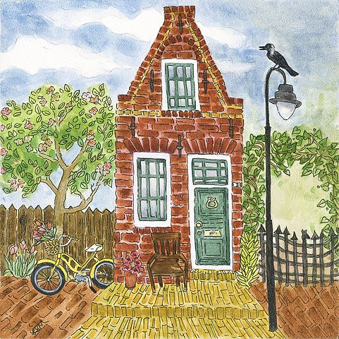 dutch house, brick house, crow, dutch crow, holland, birds, iron gate, gate, netherlands, ojai artist