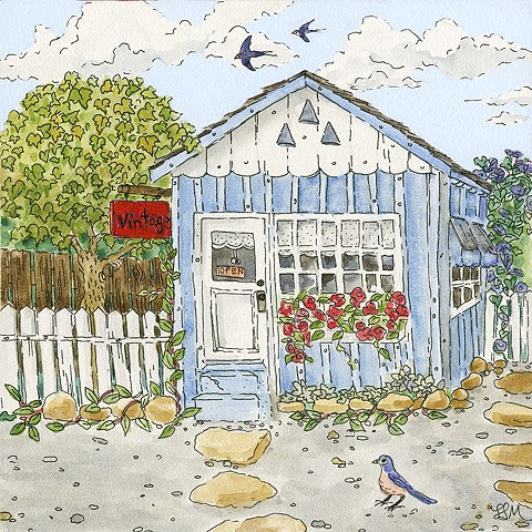 little house, little shop, little blue house, cottage, swallows, western bluebird, arbor, morning glories, ojai
