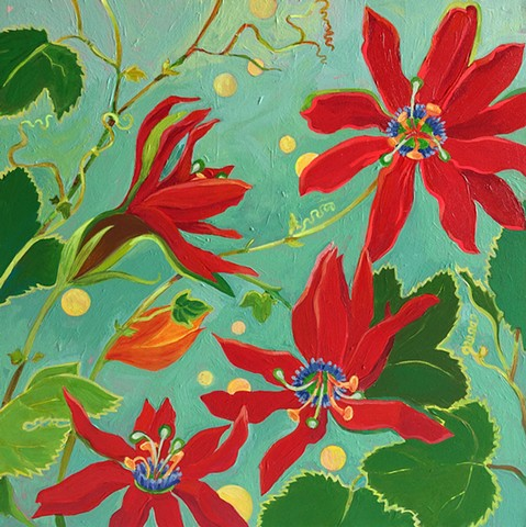 passion flower, red flowers, red flower paintings, passion flower paintings, botanical paintings, botanicals, flowers, florals, floral paintings, Red