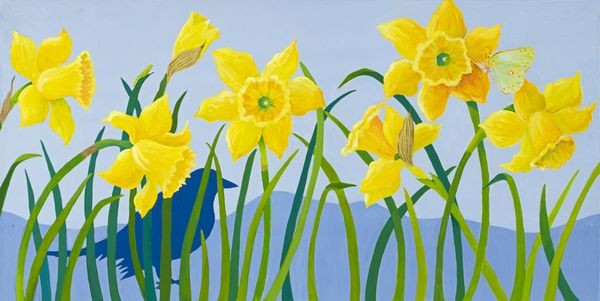 Daffodils, the daffodils, Daffodil paintings, Daffodil painting, birds, crows, bird paintings, bird and flowers, yellow and blue, yellow, blue