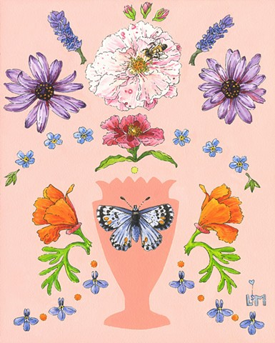 lobelia,forgetmenot,bee,floral,garden,butterfly,bluebutterfly,californiapoppy