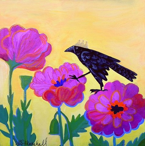 bird, black bird, bird with crown, flowers, bright colors