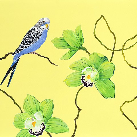 a blue parakeet on a yellow background with green orchids