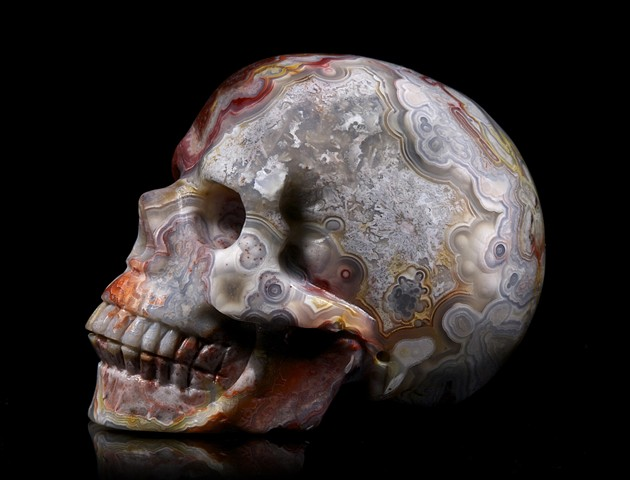 Red crazy lace agate stone skull