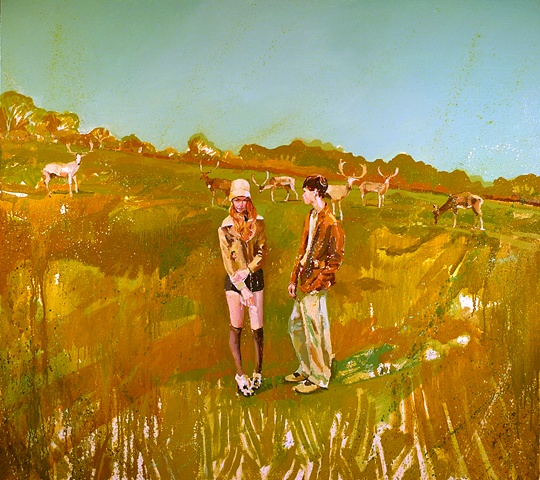 Caribou, Deer, Figurative, Figures, Narrative, Painting, Landscape