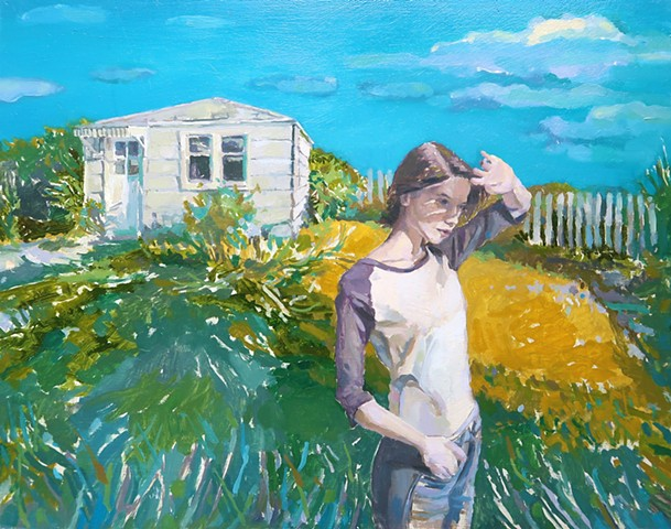 Landscape, Figurative, Narrative, Figure, Seattle, old house, Puget Sound