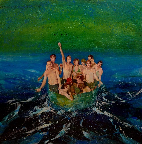 Waterscape, Water, Ocean, Figurative, Figures, Narrative, Painting, Landscape