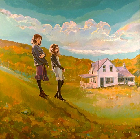 Heather, Old House, Figurative, Figures, Narrative, Painting, Landscape, Clouds