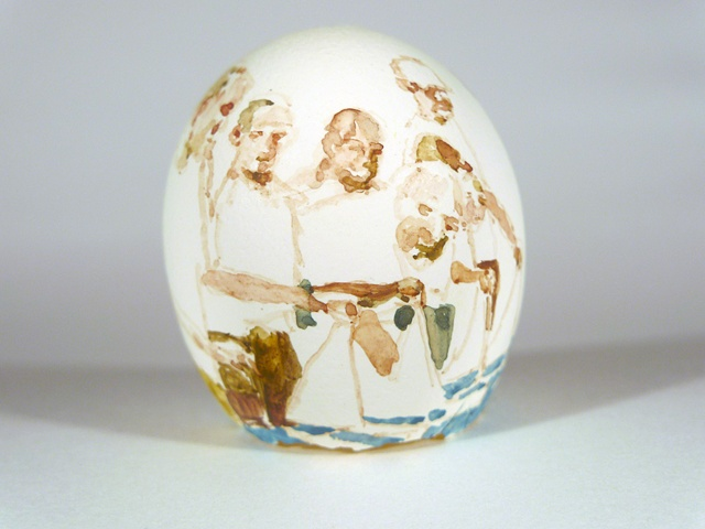 """A Test of Endurance; For Shackleton,"" Egg Series, Gouache on Local Farmers Egg, 2 x 3 in, 2013"