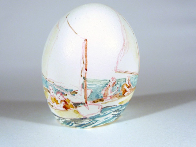 """Starboard,"" Egg Series, Gouache on Local Farmers Egg, 2 x 3 in, 2013"