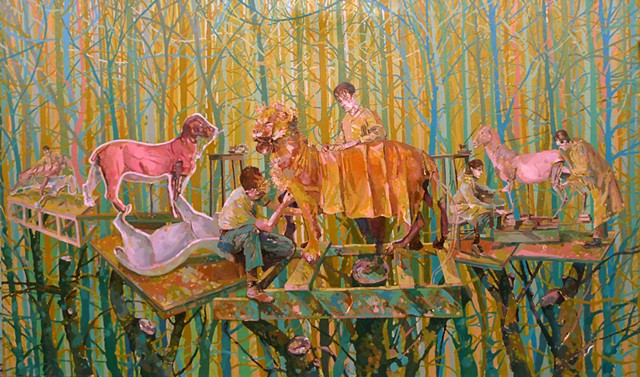 Trees, Treeouse, Figurative, Figures, Narrative, Painting, Landscape, Lions, Animals