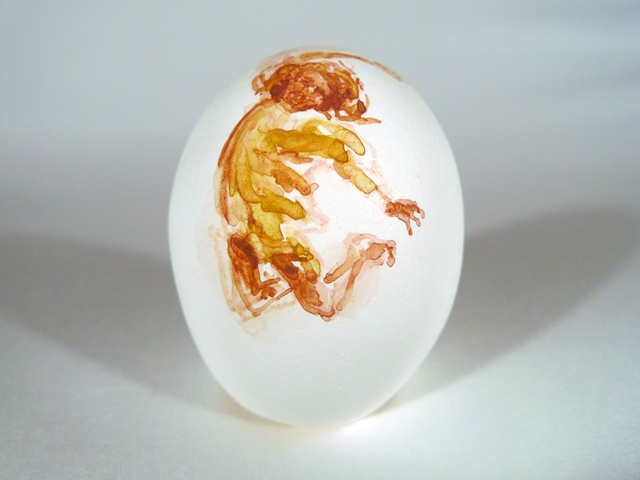 """Jump,"" Egg Series, Gouache on Local Farmers Egg, 2 x 3 in, 2013"