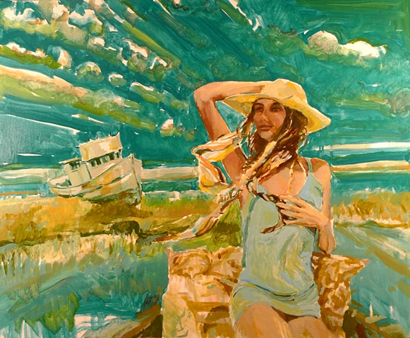 Waterscape, Ocean, Marsh, Boat, Windy, Wetland, Figurative, Figure, Narrative, Painting, Landscape