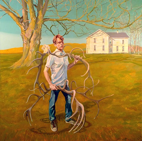 Oaktree, Old House, Figurative, Figure, Narrative, Painting, Landscape, Antlers