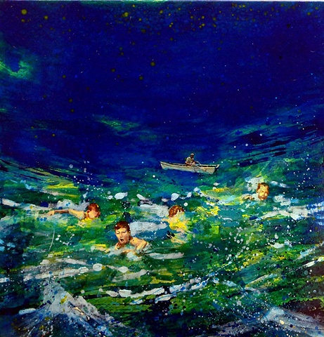 Waterscape, Ocean, Waves, Skiff, Rowboat, Swimming, Figurative, Figures, Narrative, Painting, Landscape