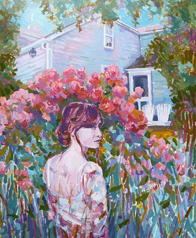 Landscape, Figurative, Narrative, old house, Rhododendron