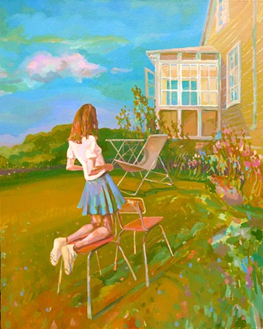 Narrative Painting, Figurative, Hollyhocks, Chairs