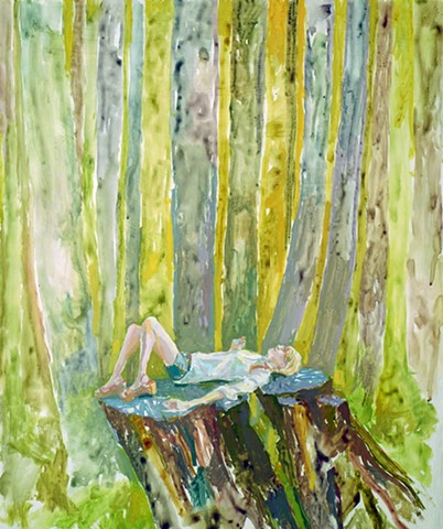 Trees, Tree stump, Old-growth, Figurative, Figure, Narrative, Painting, Landscape