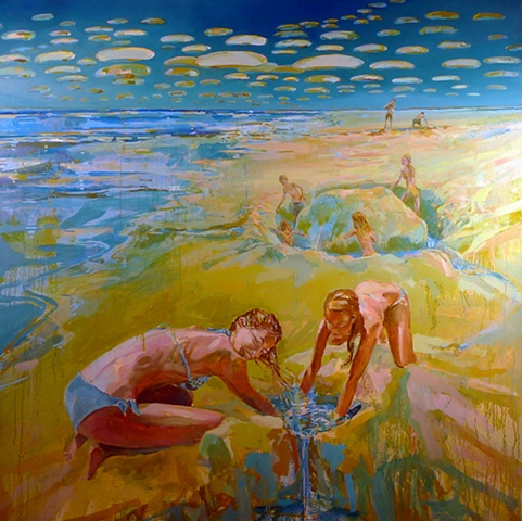 Waterscape, Clouds, Ocean, Figurative, Figures, Narrative, Painting, Landscape