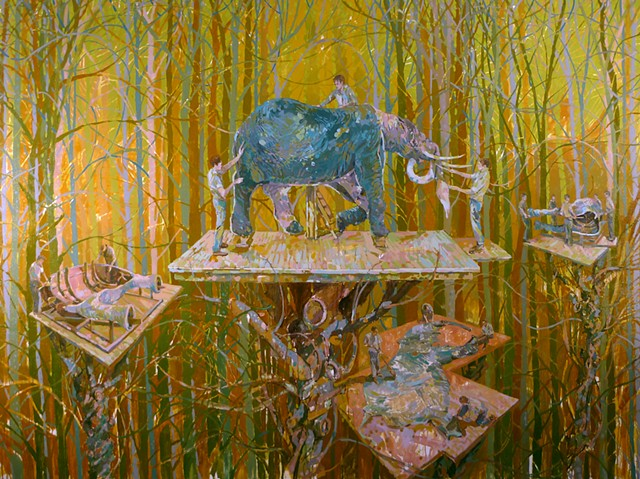 Trees, Treehouse, Figurative, Figures, Narrative, Painting, Landscape, Elephants, Mammoth