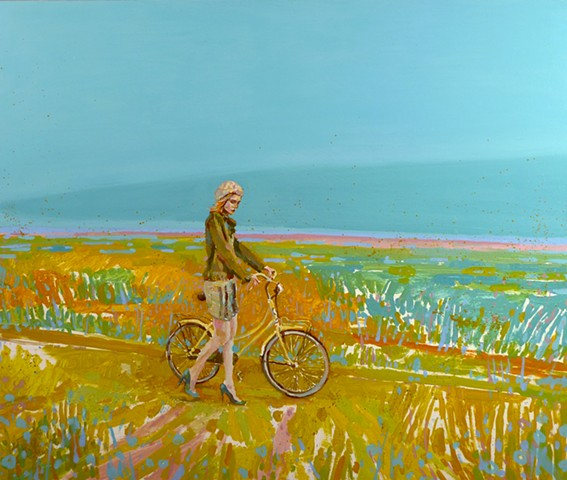 Wetland, Field, Bicycle, Heels, Figurative, Figure, Narrative, Painting, Landscape