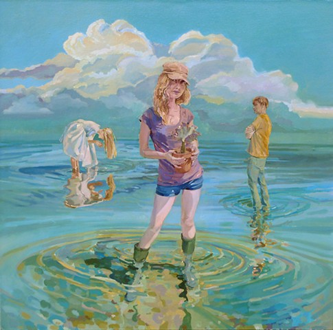 Waterscape, Figurative, Figures, Narrative, Painting, Landscape