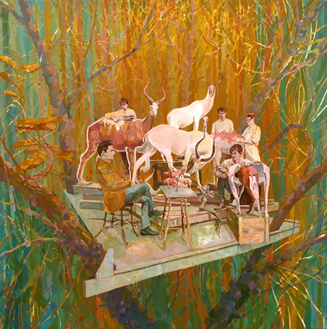 Trees, Treehouse, Taxidermy, Figurative, Figures, Narrative, Painting, Landscape, Animals