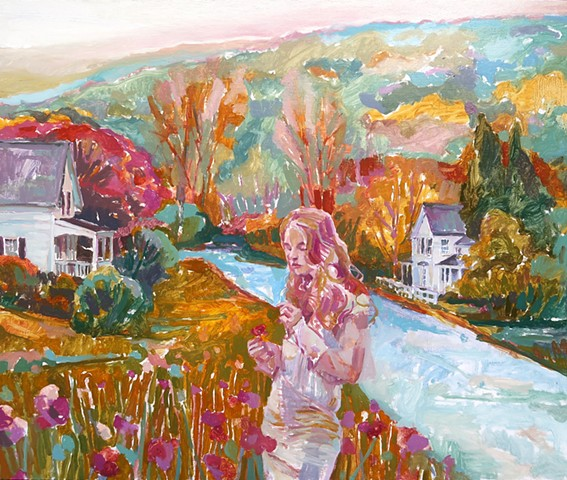Landscape, Figurative, Narrative, Figure, old houses, Small town, Poppy, Trees, Autumn