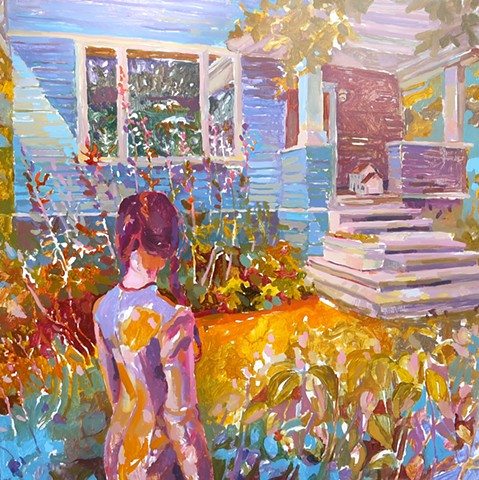 Old House, Craftsman, Dollhouse, Figure, Painting, Narrative, Hollyhocks