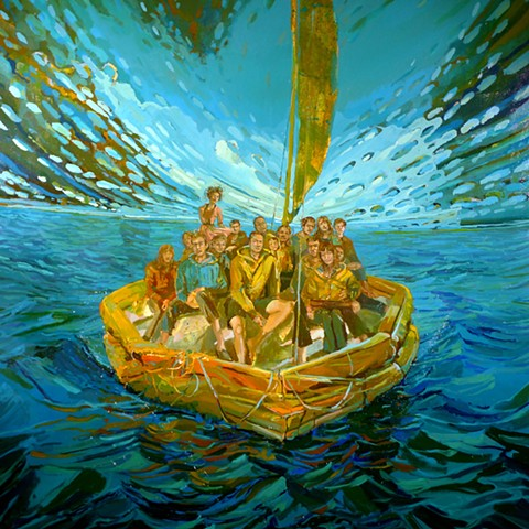Waterscape, Water, Ocean, Raft, Float, Figurative, Figures, Narrative, Painting, Landscape