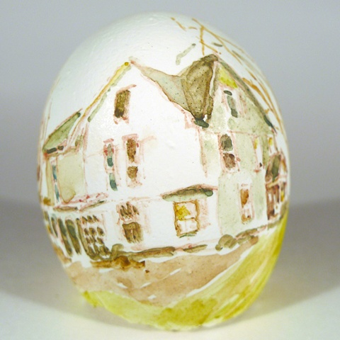 """Mark's House,"" Egg Series, Gouache on Local Farmers Egg, 2 x 3 in, 2013"