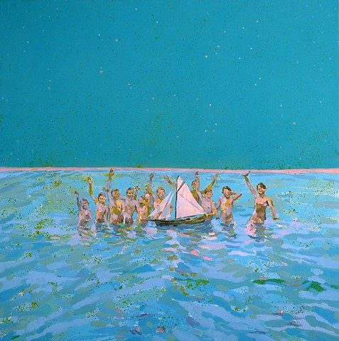 Waterscape, Sailboat, Ocean, Figurative, Figures, Narrative, Painting, Landscape