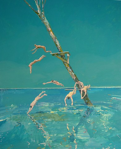 Waterscape, Water, Lake, Divers, Tree, Figurative, Figures, Narrative, Painting, Landscape