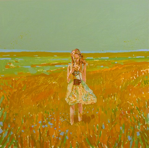 Camera, Wetland, Field, dress, Figurative, Figure, Narrative, Painting, Landscape