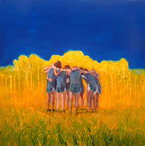 Runners, Huddle, Blue Sky, Figurative, Figures, Narrative, Painting, Landscape