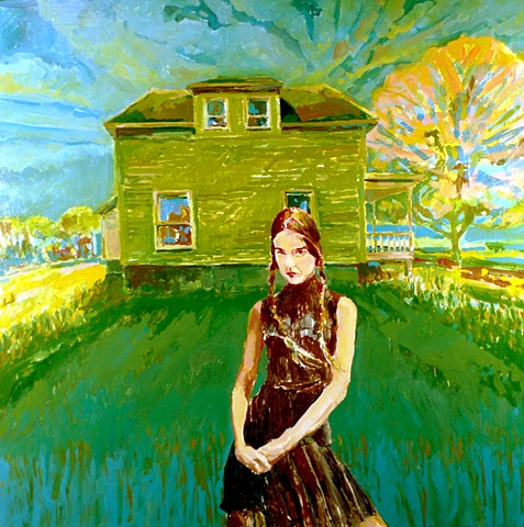 Trees, Old House, Porch, Figurative, Figure, Narrative, Painting, Landscape