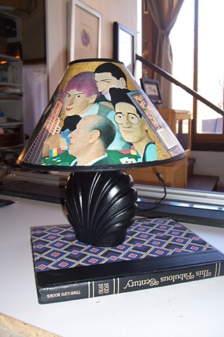 Repurposed book and lamp for the Harwood Exhibit.