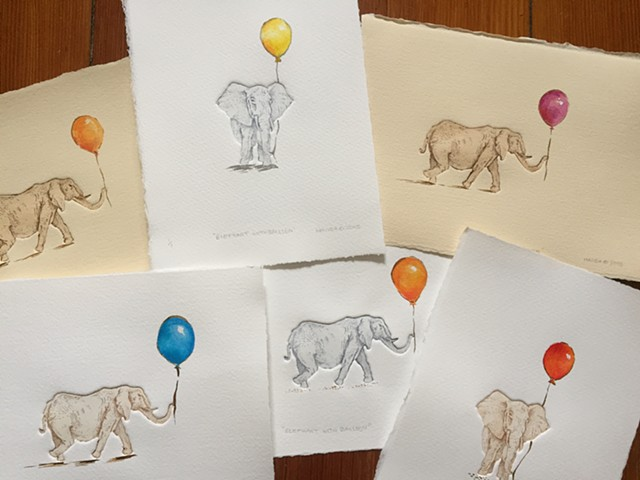 Elephant with Balloon prints