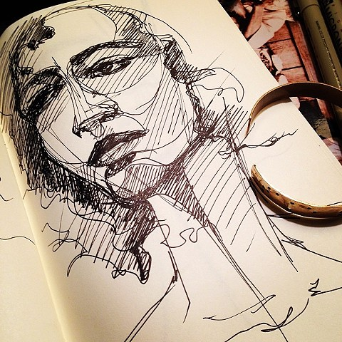 Live fashion illustration sketch at National Arts Club, NYC.