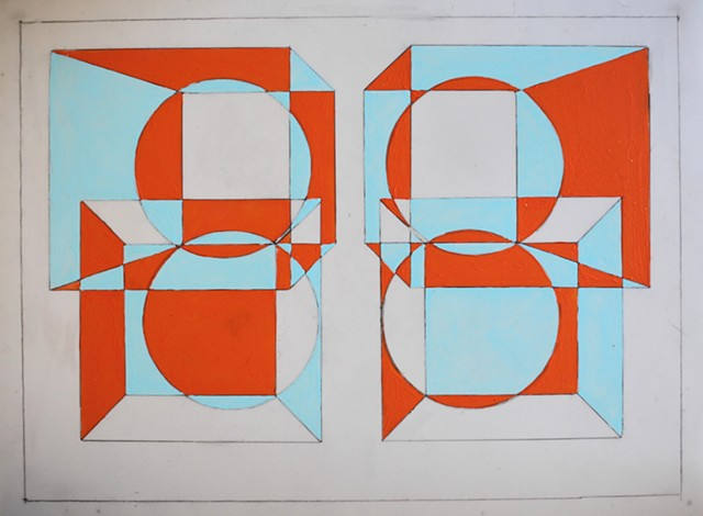 Optical art, negative space, high contrast color, work on paper, negative space